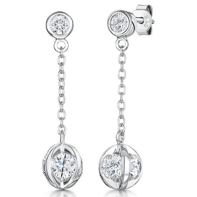 Sterling Silver  Ball Drop Earrings -With Four Cubic Zirconia StonesEarrings - JOOLS By Jenny Brown