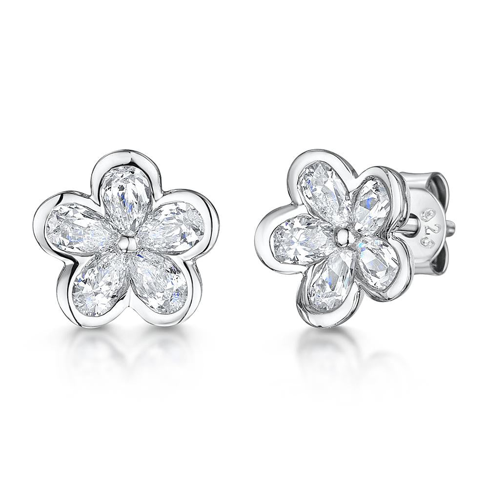 Sterling Silver Flower Earrings Set With Five Cubic Zirconia Petals - JOOLS By Jenny Brown