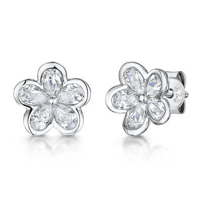 Sterling Silver Earrings Set With Five Cubic Zirconia PetalsEarrings - JOOLS By Jenny Brown