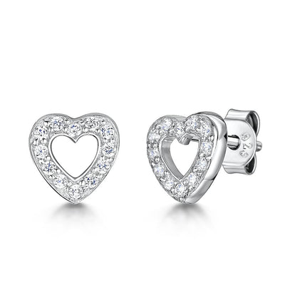 Sterling Silver Open Pave Set Heart Stud EarringsEarrings - JOOLS By Jenny Brown