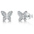 Sterling Silver Pave Set Butterfly Stud Earrings Set With Cubic Zirconoa Stones