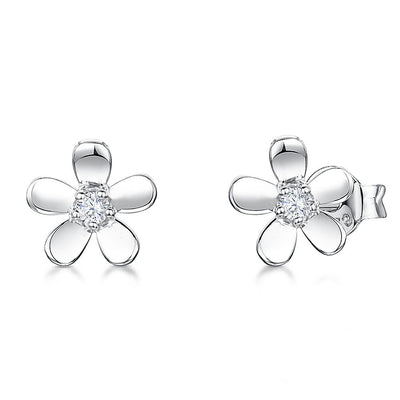 Sterling Silver Flower Petal Earrings With Polished Petals And A Round Cubic Zirconia Stone CentreEarrings - JOOLS By Jenny Brown