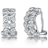 Sterling Silver Huggie Earrings - Set With 12 White Zirconia Stones - JOOLS By Jenny Brown