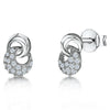 Sterling Silver and Cubic Zirconia Circle Drop StudsEarrings - JOOLS By Jenny Brown