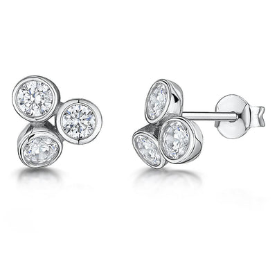 Sterling Silver Stud Earrings Raindance Boodles Style - Set With Zirconia StonesEarrings - JOOLS By Jenny Brown