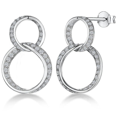 Sterling Silver Double Circle Drop  Earrings Set With Cubic Zirconia StonesEarrings - JOOLS By Jenny Brown