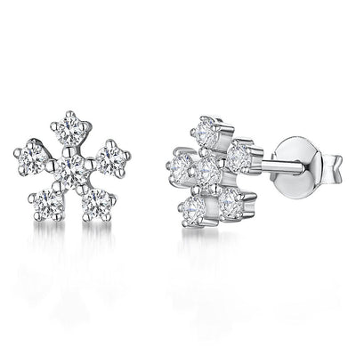 Sterling Silver Small Snowflake Earrings With Cubic Zirconia StonesEarrings - JOOLS By Jenny Brown