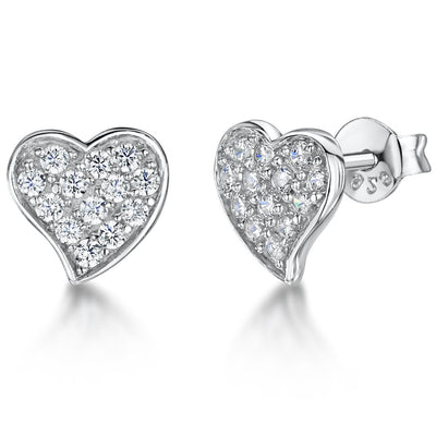 Sterling Silver Small  Offset Pave Set  Heart Stud Earringsearrings - JOOLS By Jenny Brown