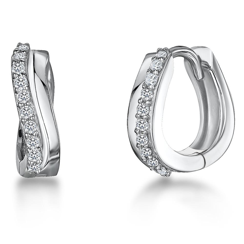 Sterling Silver Twist Huggie Earrings  Set With Cubic Zirconia Stones - JOOLS By Jenny Brown