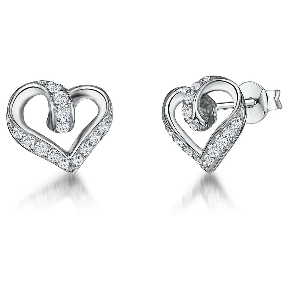 Sterling Silver Twisted Heart Stud Earrings With Cubic Zirconia Settings - JOOLS By Jenny Brown