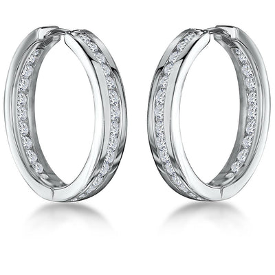 Sterling Silver Hoop Earrings Channel Set with Zirconia StonesEarrings - JOOLS By Jenny Brown