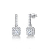 Sterling Silver Square Halo Set Cubic Zirconia Drop Earringsdrop earrings - JOOLS By Jenny Brown
