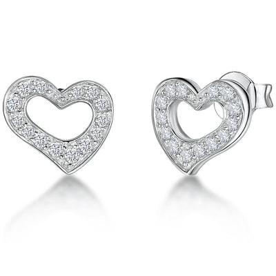 Sterling Silver Small  Stone Set  Heart Stud Earringsearrings - JOOLS By Jenny Brown