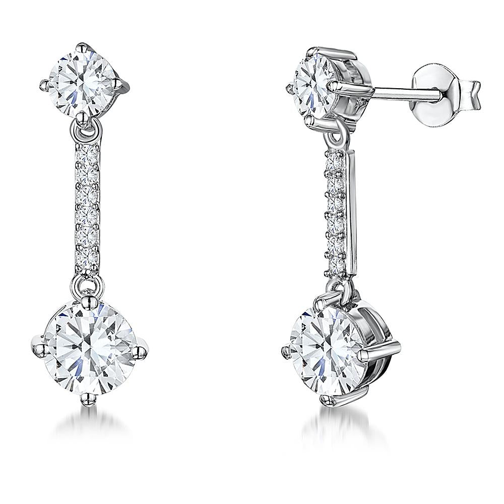 Sterling Silver Earrings Featuring Brilliant Cut Cubic Zirconia Drops - JOOLS By Jenny Brown