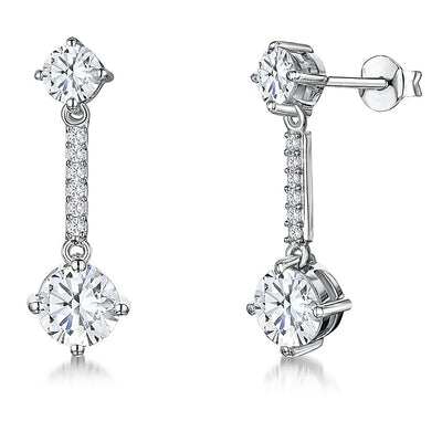 Sterling Silver Earrings Featuring Brilliant Cut CZ DropsEarrings - JOOLS By Jenny Brown
