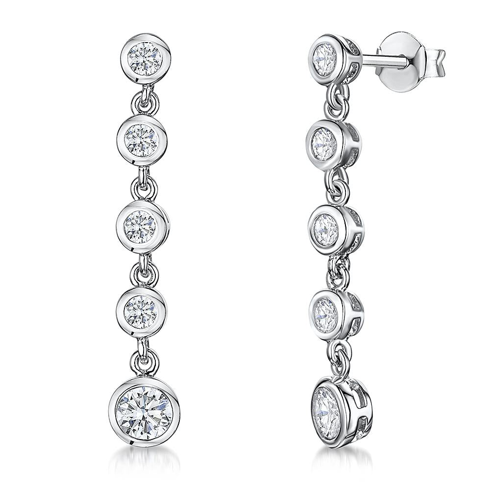 Sterling Silver Drop Earrings- Featuring Five Rub Over CZ Drops - JOOLS By Jenny Brown