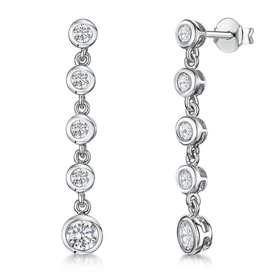 Sterling Silver Drop Earrings- Featuring Five Rub Over CZ DropsEarrings - JOOLS By Jenny Brown