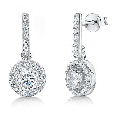 Sterling Silver Halo Drop Round Brilliant Cut Cubic Zirconia EarringsEarrings - JOOLS By Jenny Brown