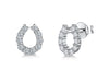 Sterling Silver  Horseshoe Stud Earrings Set With Cubic Zirconia Stones