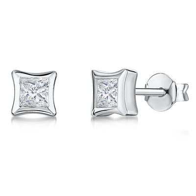 Sterling Silver Earrings -Featuring Square CZ's In A 'Rub Over' Style SettingEarrings - JOOLS By Jenny Brown