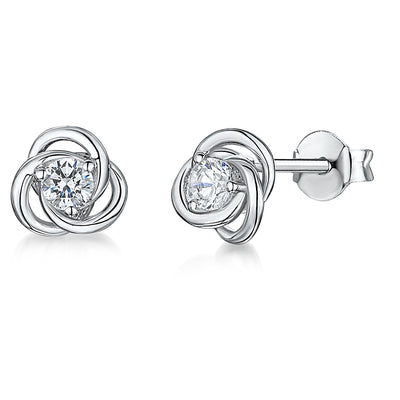 Sterling Silver Small Knot Stud Earrings Set With A Quarter Carat Round Cubic Zirconia Stone