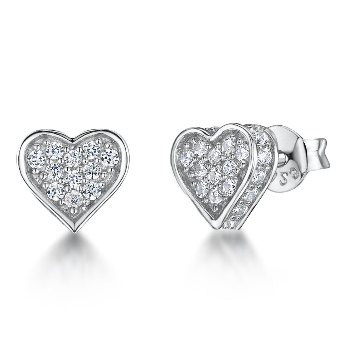 Sterling Silver Small  Pave Cubic Zirconia   Heart Stud  Earringsearrings - JOOLS By Jenny Brown