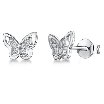Sterling Silver Wing Butterfly Earrings Set With Cubic Zirconia Stone Centresearrings - JOOLS By Jenny Brown