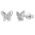 Sterling Silver Wing Butterfly Earrings Set With Cubic Zirconia Stone Centres