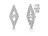 Sterling Silver Open Diamond Shape Drop Earrings Set With a Round Cubic Zirconia Centreearrings - JOOLS By Jenny Brown