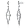 Sterling Silver Open Diamond Shape Drop Earrings Split With A Cubic Zirconia Bar Settingdrop earrings - JOOLS By Jenny Brown