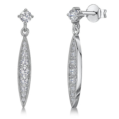 Sterling Silver Dangle Drop Marquise EarringsEarrings - JOOLS By Jenny Brown
