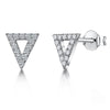 Sterling Silver Triangle Stud Earrings Set With Cubic Zirconia Stonesearrings - JOOLS By Jenny Brown