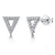 Sterling Silver Triangle Stud Earrings Set With Cubic Zirconia Stones