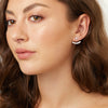 Sterling Silver Jacket  Underlobe Earrings Set with  Six  Round Brilliant Cubic Zirconia Stones