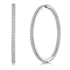 Sterling Silver Large Hoop Earrings With a Single Row of Cubic Zirconia StonesEarrings - JOOLS By Jenny Brown