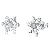 Sterling Silver Snowflake Stud Earrings Set with Cubic Zirconia and Polished SurroundEarrings - JOOLS By Jenny Brown