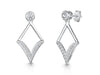 Sterling Silver Art Deco Inspired Diamond Shape Drop Earrings Featuring A Rub Set Cubic Zirconia Stone Set Baledrop earrings - JOOLS By Jenny Brown