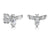 Sterling Silver Bumble Bee Earrings with a Pear Shape Cubic Zirconia Body