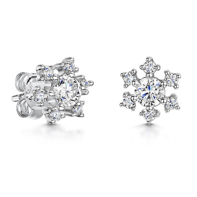 Sterling Silver Snowflake Stud Earrings Set with With A  Cubic Zirconia Centre and SurroundEarrings - JOOLS By Jenny Brown