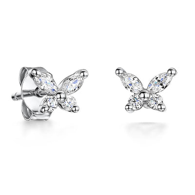Sterling Silver Butterfly Stud Earrings Set With Four Marquise Shape Cubic Zirconia Stonesearrings - JOOLS By Jenny Brown