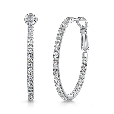 Sterling Silver Hoop Earrings With Four Claw Set Cubic Zirconia Stones- 30 MM Diameter - Hinged Hoop Back