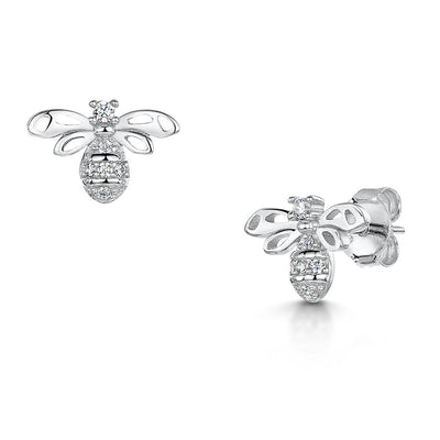 Sterling Silver Bee Earrings Set With A Cubic Zirconia Body