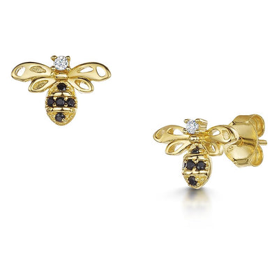 Yellow Gold Plated Silver Bee earrings Set with A Black Cubic Zirconia Set body