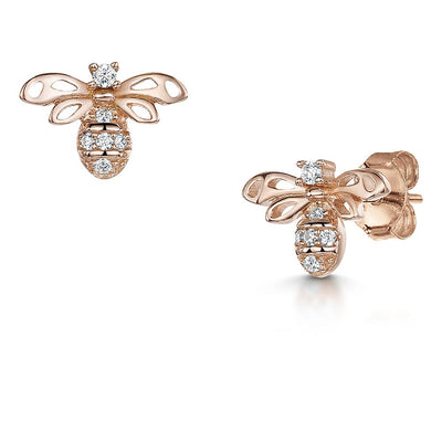 Rose Gold Plated Silver Bee Earring Set With A Cubic Zirconia Body