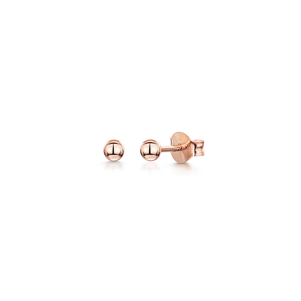 ROSE  GOLD STERLING SILVER  BALL STUD EARRINGS- Hypoallergenic