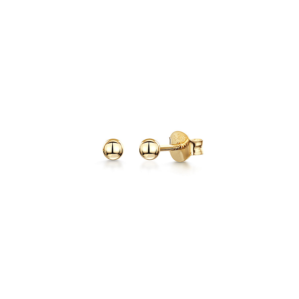 YELLOW GOLD STERLING SILVER  BALL STUD EARRINGS- Hypoallergenic