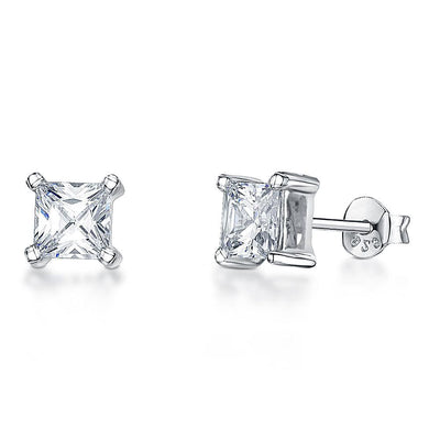 Sterling Silver  Solitaire Princess Cut Square Earrings 3MM  4MM 5MM And  6 MM SizesEarrings - JOOLS By Jenny Brown