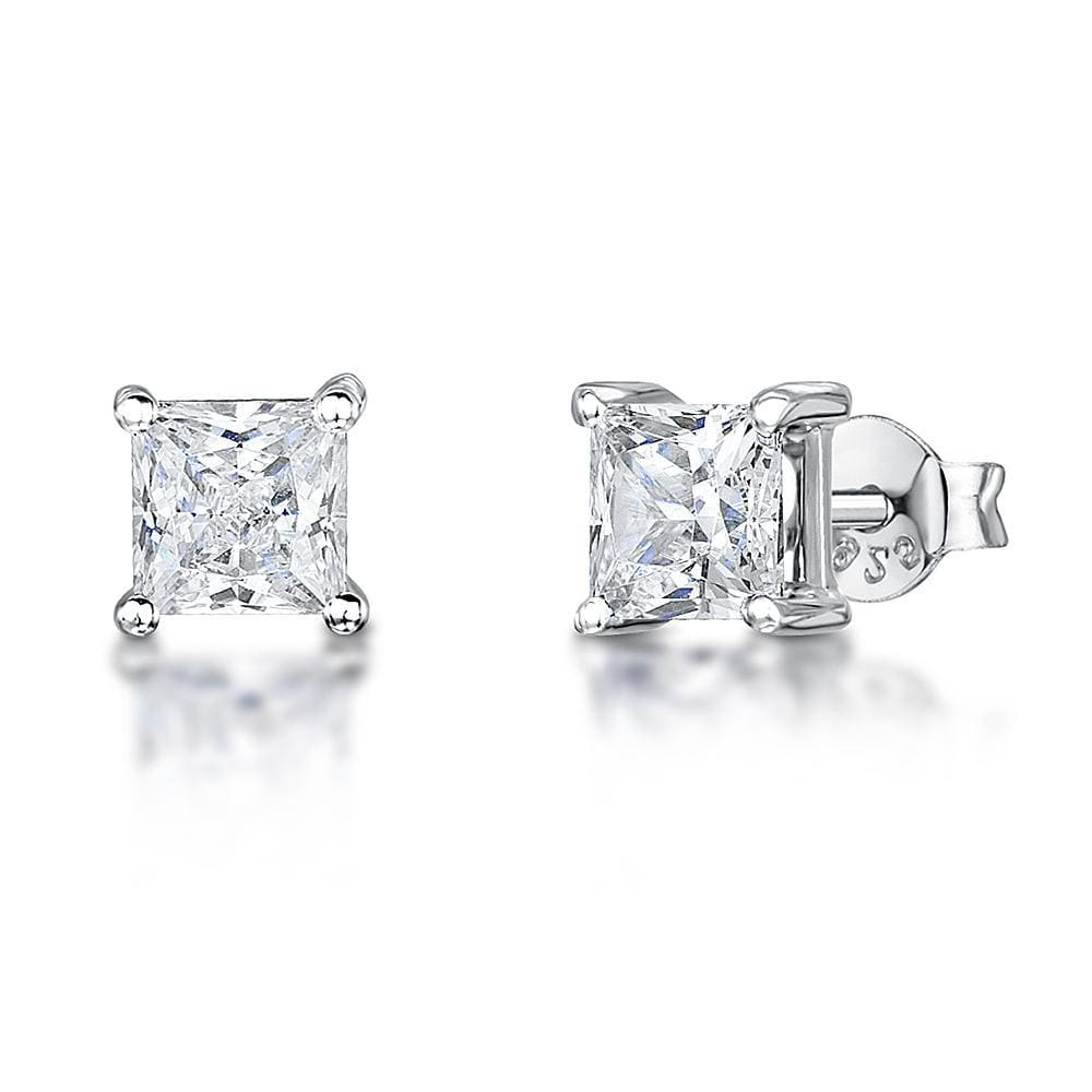 Sterling Silver Square  Stud 4 Claw  Half Carat  EarringsEarrings - JOOLS By Jenny Brown