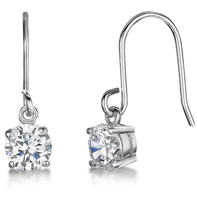 Sterling Silver Fishook Earrings Set  1 Carat  Cubic ZirconiaEarrings - JOOLS By Jenny Brown