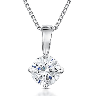 Sterling Silver Solitaire Pendant Brilliant Cut 1.3 Carat Solitaire White Cubic Zirconia StonePendants - JOOLS By Jenny Brown